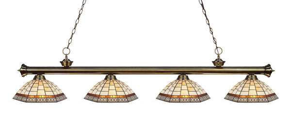 Z-Lite 200-4AB-Z14-35 Riviera 4 Light Billiard Light with Antique Brass Steel Frame