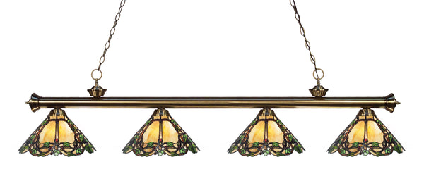 Z-Lite 200-4AB-Z14-37 Riviera 4 Light Billiard Light with Antique Brass Steel Frame