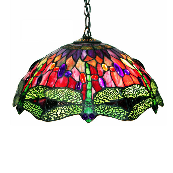 Home Roots - Tiffany Style Dragonfly Red Hanging Lamp 226577