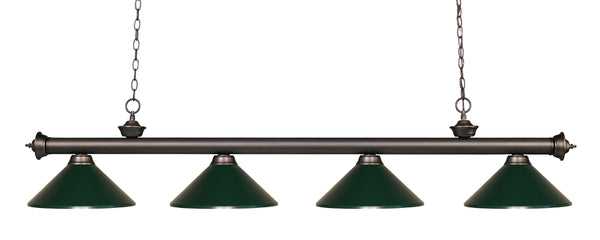Z-Lite 200-4OB-MDG Riviera 4 Light Billiard Light with Olde Bronze Steel Frame