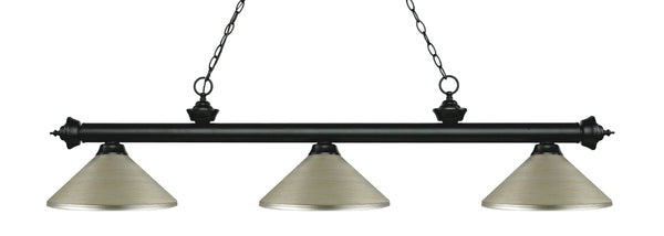 Z-Lite 200-3MB-MAS Riviera 3 Light Billiard Light with Matte Black Steel Frame