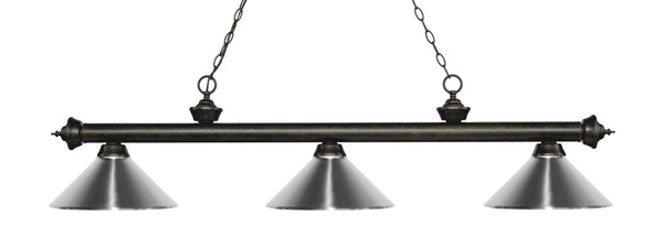 Z-Lite 200-3GB-MCH Riviera 3 Light Billiard Light with Golden Bronze Steel Frame