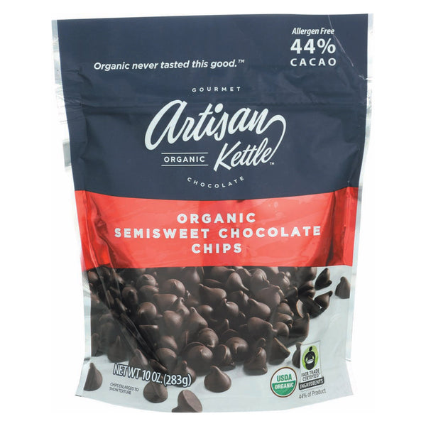 Artisan Kettle Chocolate Chips - Organic - Semisweet - Case of 6 - 10 oz