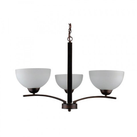 107-3U-AWCF Coffee Metal, Glass Three Light Chandelier  Alta Peak Collection