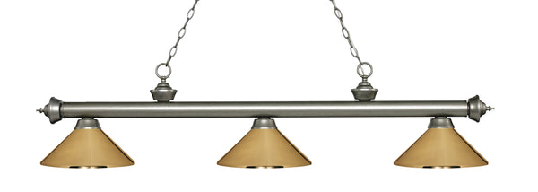 Z-Lite 200-3AS-MPB Riviera 3 Light Billiard Light with Antique Silver Steel Frame