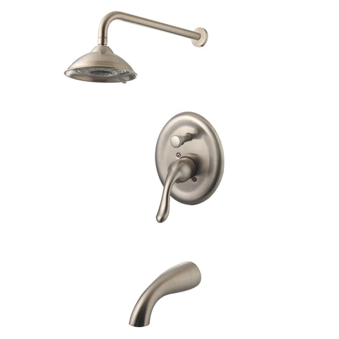 YPH24258-BN Brushed Nickel Finish Metal Tub and Shower Faucet Single Handle Tub and  Shower