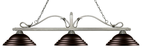 Z-Lite 114-3AS-SBRZ Melrose 3 Light Billiard Light with Antique Silver Steel Frame