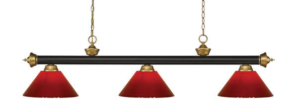 Z-Lite 200-3BRZ+SG-PRD Riviera 3 Light Billiard Light with Bronze + Satin Gold Steel Frame