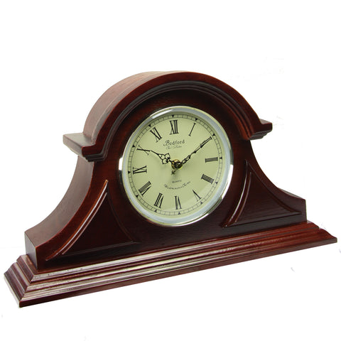 Bedford Clock Collection  Redwood Tambour Mantel Clock with Chimes - Factory Reconditioned