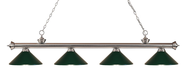 Z-Lite 200-4BN-MDG Riviera 4 Light Billiard Light with Brushed Nickel Steel Frame