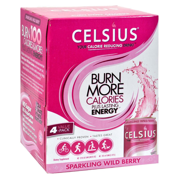 Celsius Sparkling Wild Berry - 12 fl oz Each / Pack of 4