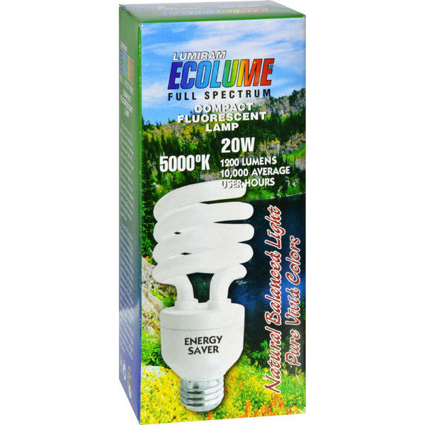 Ecolume Spiral Compact Fluorescent Lamp 20 Watt - 1 Light Bulb