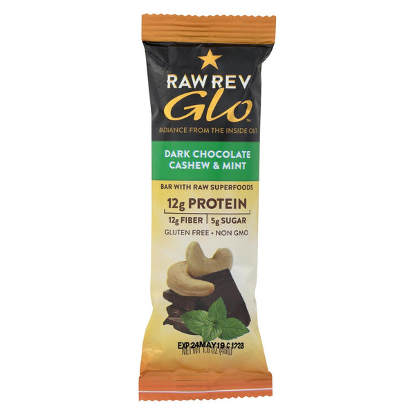 Raw Revolution Glo Dark Chocolate Bar - Cashew and Mint - Case of 12 - 1.6 oz.