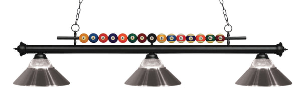 Z-Lite 170MB-RBN Shark 3 Light Billiard Light with Matte Black Steel Frame
