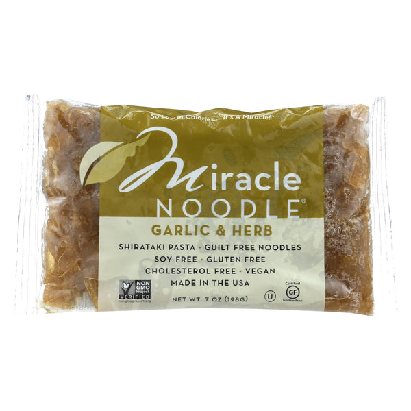 Miracle Noodle Shirataki Pasta - Garlic and Herb Fettuccini - Case of 6 - 7 oz.