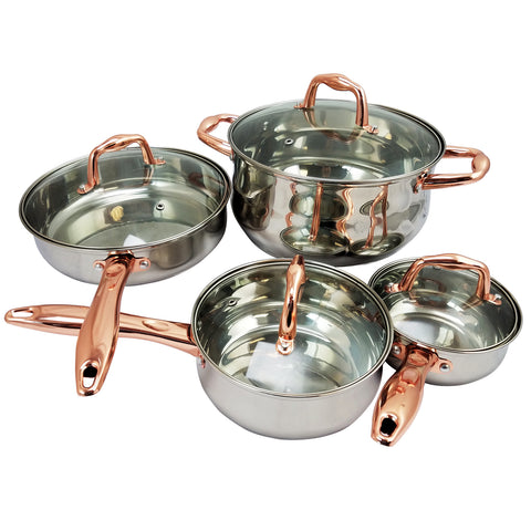 Sunbeam  Branson 8-Piece Cookware Set, Copper Handles
