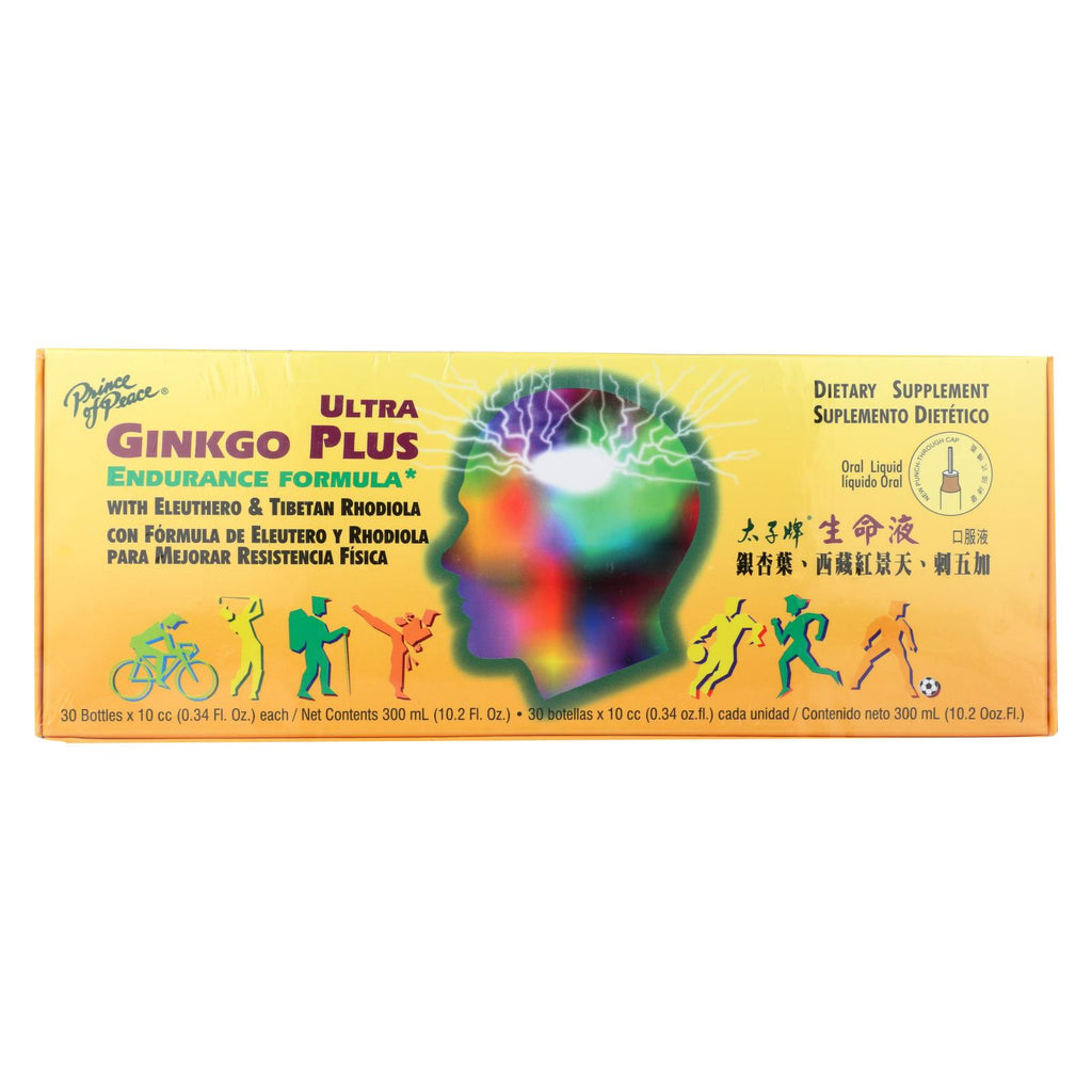 Prince of Peace Ultra Gingko Plus Endurance Formula - with Eleuthero and Rhodiola - 10 cc - 30 Vials