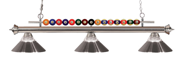 Z-Lite 170BN-RBN Shark 3 Light Billiard Light with Brushed Nickel Steel Frame