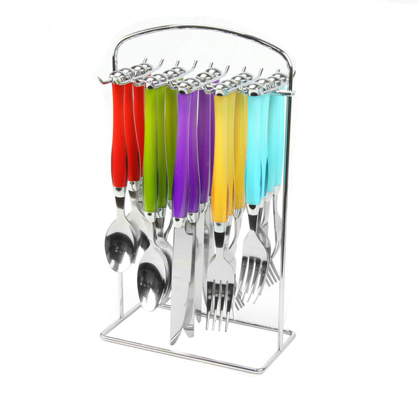Gibson Home  Santoro 20-Piece Stainless Steel Flatware Set with Hanging Rack inAssorted Colors