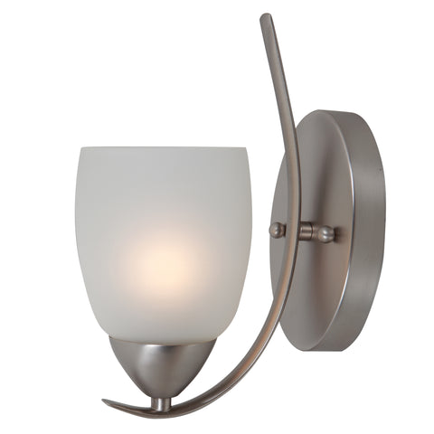 1261-1WS-BN Brushed Nickel  Steel, Glass One Light Wall Sconce Mirror Lake Collection