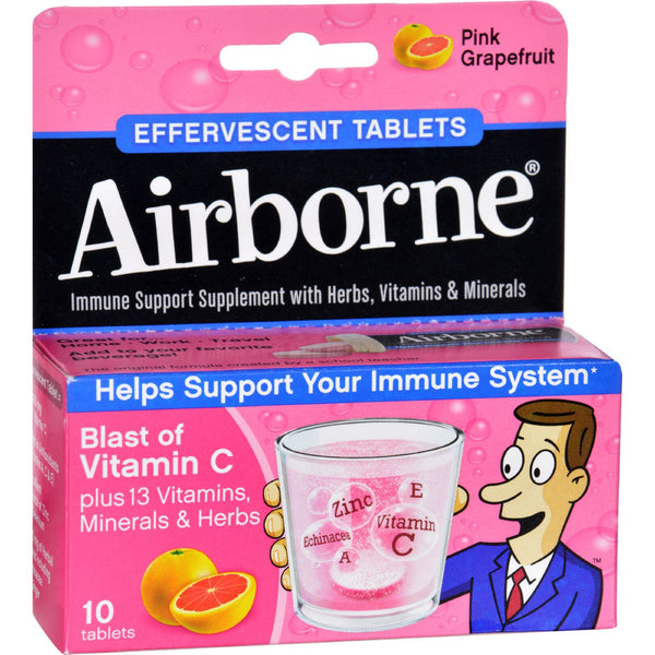 Airborne Effervescent Tablets with Vitamin C - Pink Grapefruit - 10 Tablets