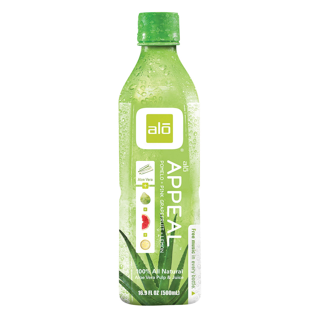 Alo Original Appeal Aloe Vera Juice Drink - Pomelo, Lemon and Pink Grapefruit - Case of 12 - 16.9 fl oz.