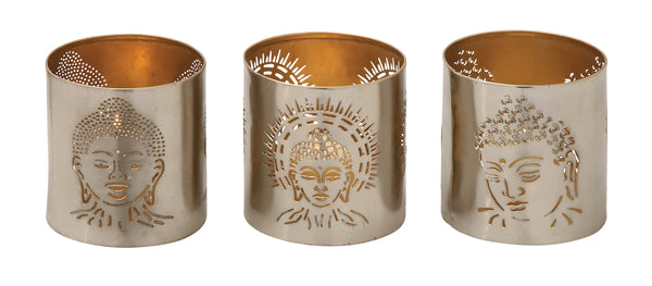 Gorgeous Metal Buddha Votive Holder Set Of 3 37065 - Benzara