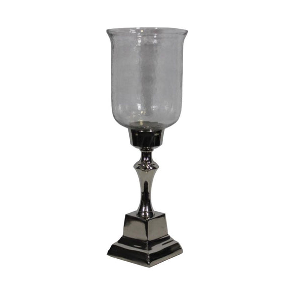 Stunning Hammered Glass Candle Holder - Silver - Benzara ETD-EN14276