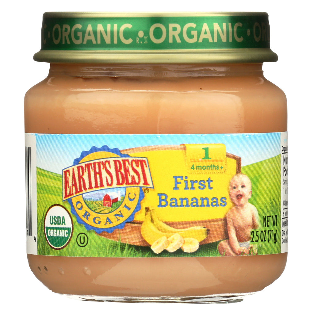 Earth's Best Organic First Bananas Baby Food - Stage 1 - Case of 12 - 2.5 oz.