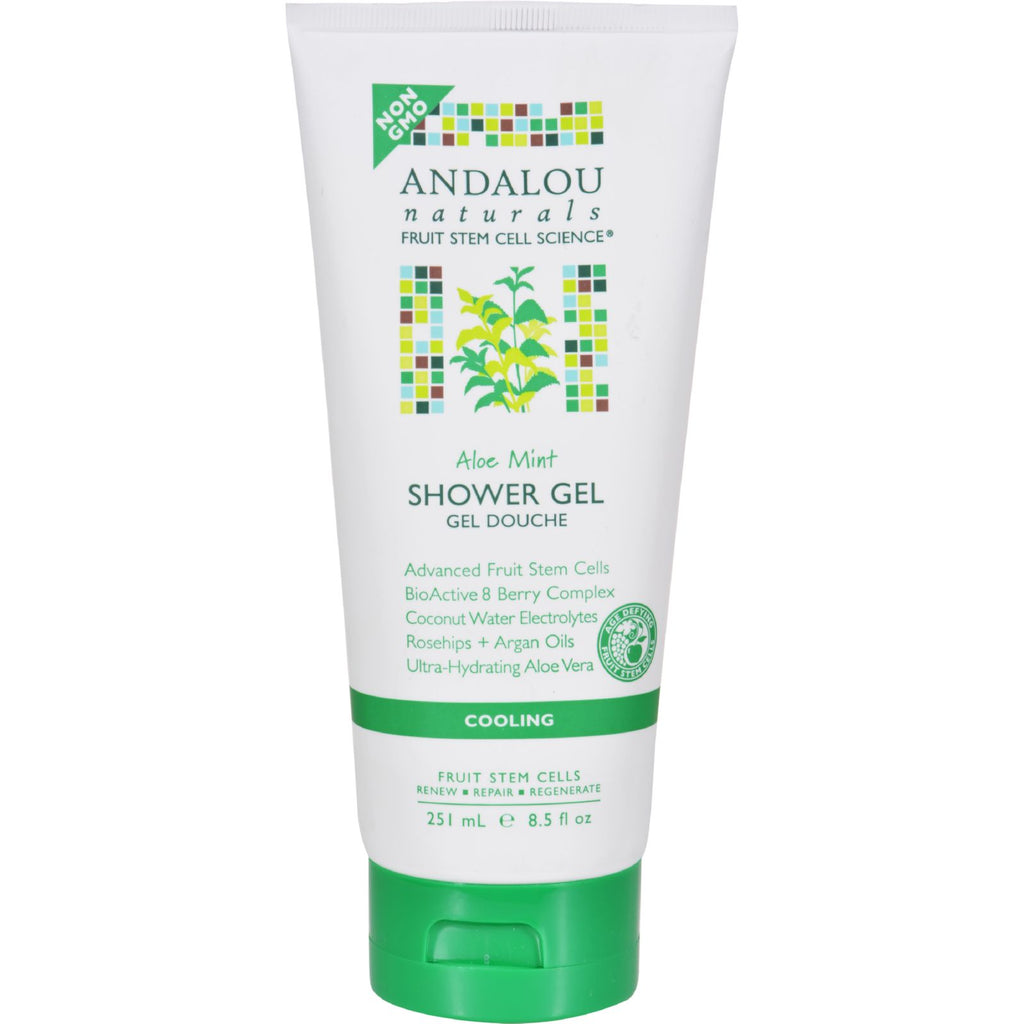 Andalou Naturals Shower Gel - Aloe Mint Cooling - 8.5 fl oz