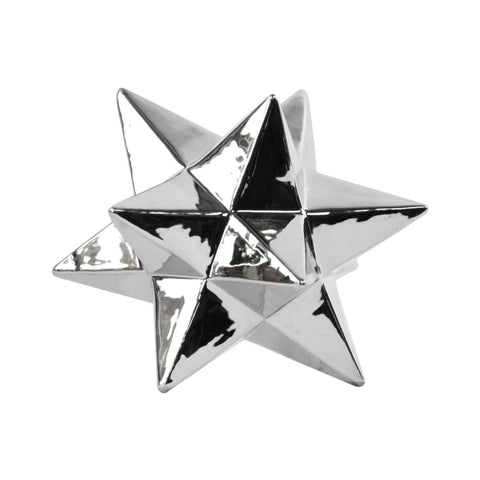 12 Point Stellated Sculpture In Ceramic, Large, Silver - Benzara
