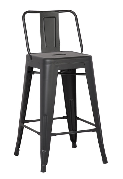 Home Roots - 24'' Matte Black Metal Barstool with Back In A Set of 2 248133