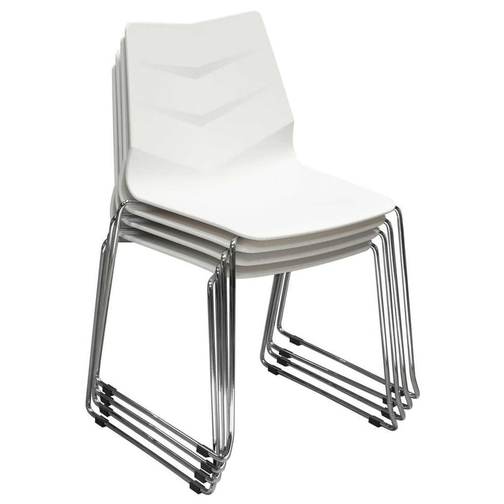 Excellent Plastic Accent Chairs With Metal Legs White And Silver Pack Of Four Bm191014 Benzara Andrewgaddart Wooden Chair Designs For Living Room Andrewgaddartcom