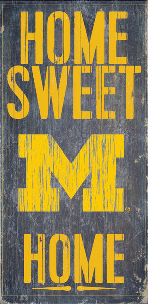 Michigan Wolverines Wood Sign - Home Sweet Home 6''x12'' - Fan Creations