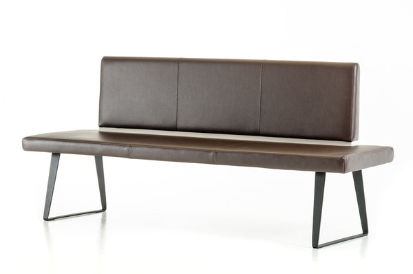 Home Roots - 35'' Brown Leatherette and Metal Dining Bench 284439