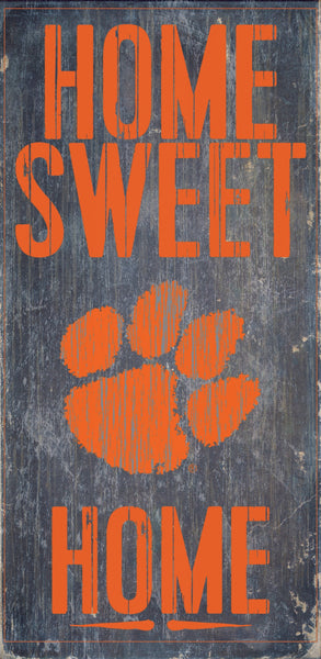 Clemson Tigers Wood Sign - Home Sweet Home 6''x12'' - Fan Creations