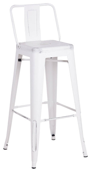 Home Roots - 24'' White Distressed Metal Barstool with Back In A Set of 2 248135
