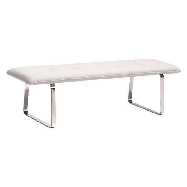Home Roots - 61'' X 21'' X 17.5'' White Leatherette Bench 249114