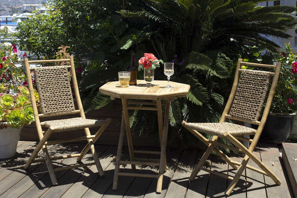 Home Roots - 36' Natural Bamboo set of 2 Chairs and a Table with Seagrass Seating