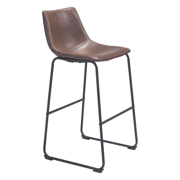 Home Roots - 19'' X 21.3'' X 38.6'' Vintage Espresso Leatherette Metal Bar Chair 248874
