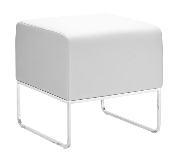 Home Roots - 18'' x 18.5'' x 18'' White, Leatherette, Chromed Steel, Ottoman 248898