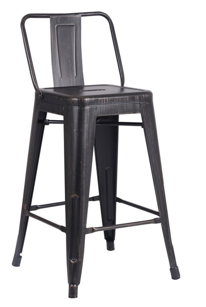 Home Roots - 24'' Matte Black Distressed Metal Barstool with Back In A Set of 2 248134