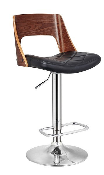 Home Roots - Black Contemporary Wood Back Adjustable Swivel Barstool with Diamond Quilted Seat 248146