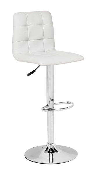 Home Roots - 16.9'' x 16.3'' x 36.6'' White, Leatherette, Chromed Steel, Bar Chair 249047