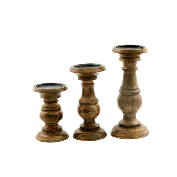 Short And Sweet Wooden Candle Holder Set Of Three In Natural Wood Finish BM03605 - Benzara