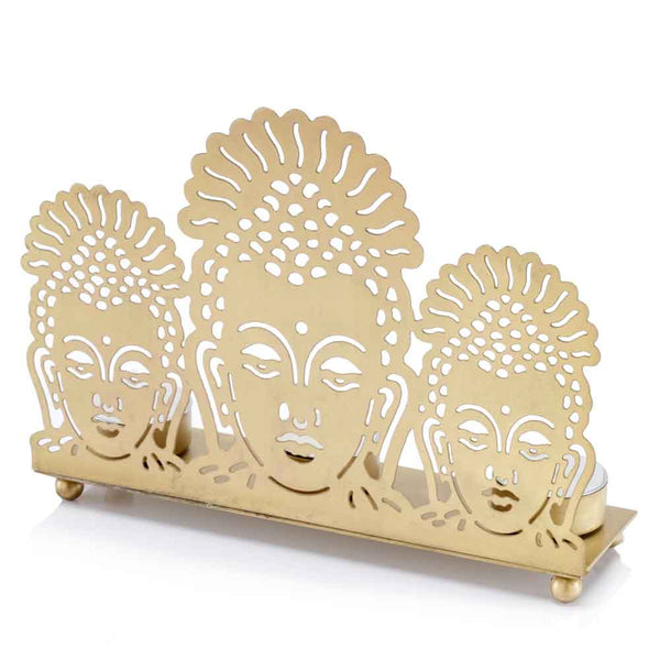 Home Roots - 2.5'' x 8.7'' x 6.5'' Gold Buddha 3 Lite Candle Holder 354755