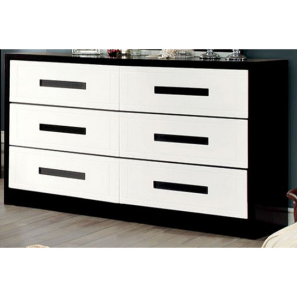 Perpetual Designed Wooden Dresser White And Black BM137893 - Benzara