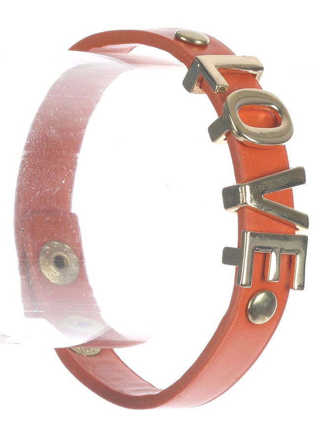 Orange Metal Letter Charm Faux Leather Band Bracelet