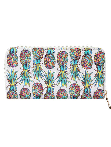 Mulit Color Pineapple Print Vinyl Clutch Wallet Bag Accessory