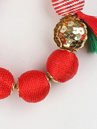 Red Color Cord Wrapped Chunky Ball Bib Fashion Necklace And Earring Set - PTS125549GDRED